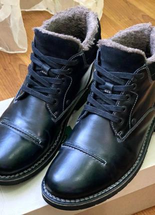 44-й Шерстяные ботинки Clarks (мужские черные зима мех теплые)