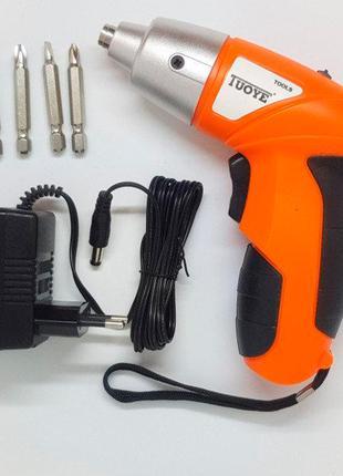 Электрическая отвертка-шуруповерт TUOYE, 4 биты, адаптер