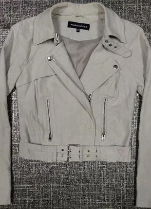 Warehouse косуха лен байкерская куртка летний жакет карманы