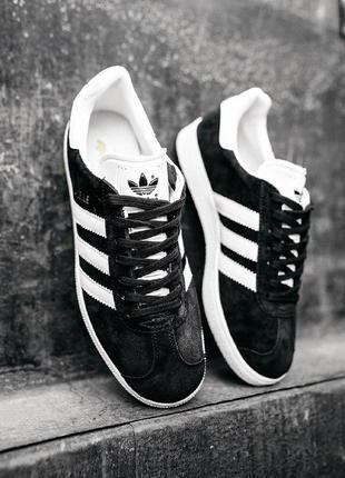 Кроссовки adidas gazelle black/white кеды белые с черным замша