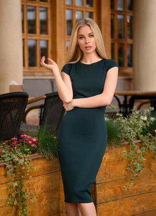 Летнее платье цвет изумрудный футляр облегающее короткий рукав