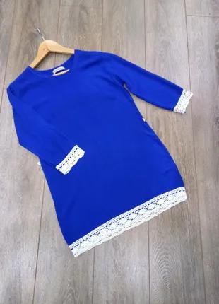 Короткое синее платье с натур белым кружевом турция
