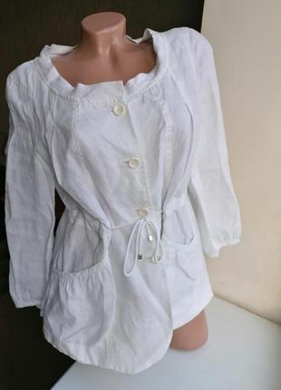 Дизайнерский летний натуральный пиджак 100% лен ana sousa (к078)