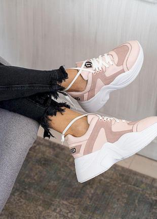 Женские кроссовки кожаные весна/осень розовые-белые ANRI-de-colo