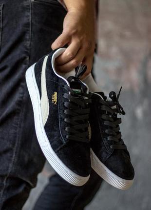 Отличные женские кроссовки puma suede black/white чёрные