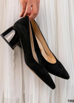 Туфли-лодочки на среднем каблуке  натуральная итальянская замша