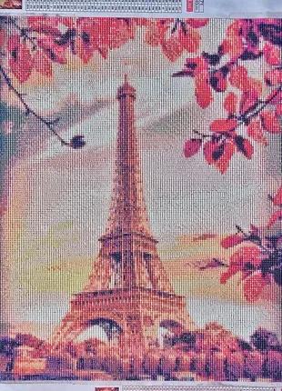 Эйфелева башня Готовая работа алмазная мозаика