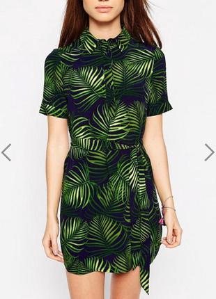 Платье рубашка в тропический принт new look размер 12/14