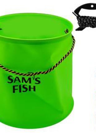 Відро Рибальске Еba SAMS Fish 25Х25см 10л, Мотузка 4,9М