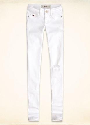 Белые джинсы скинни hollister