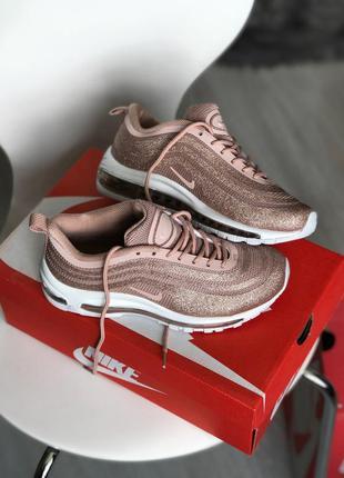 Отличные женские кроссовки nike air max 97 glitter розовые