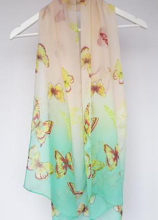 Шифоновый шарф в бабочки бежевый мятный цвета