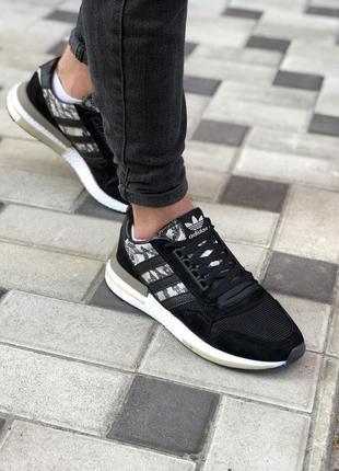 Классные женские кроссовки adidas zx 500 чёрные