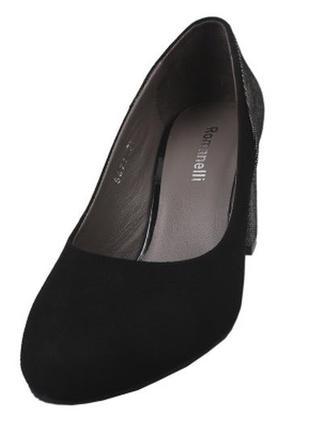 Туфли на устойчивом каблуке  romanelli натуральная замша весна...