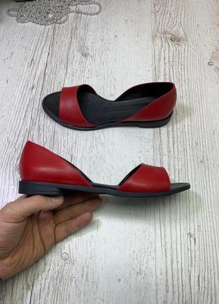 Босоножки с открытым носком (кожа бордо)