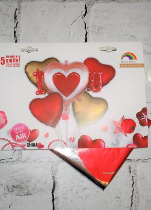 Воздушные шарики, набор Сердце I love you, 5 шт