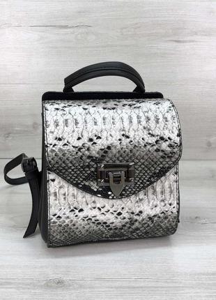 Сумка-рюкзак chris чёрно-белая рептилия животный принт  эко-кожа