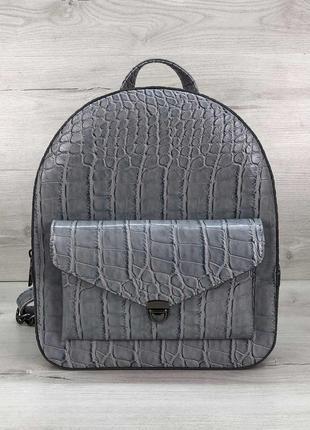 Рюкзак серо-голубой эко-кожа рептилия животный принт