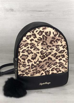 Рюкзак мэри леопард животный принт черный эко-кожа