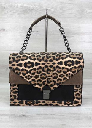 Стильная сумка amber леопард животный принт эко-кожа