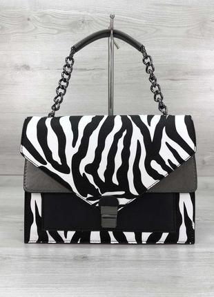 Стильная сумка amber чёрно-белая зебра животный принт эко-кожа
