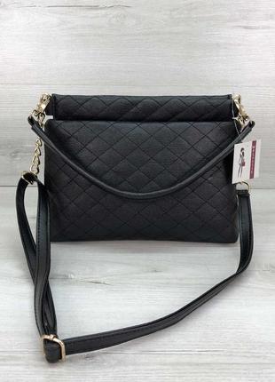Женская сумка-клатч ava черная стеганая кожзам