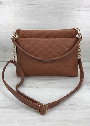 Женская сумка-клатч ava рыжая стеганая кожзам