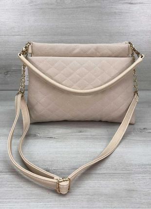 Женская сумка-клатч ava бежевая стеганая кожзам