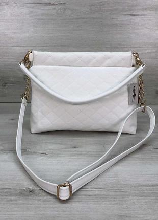 Женская сумка-клатч ava белая стеганая кожзам