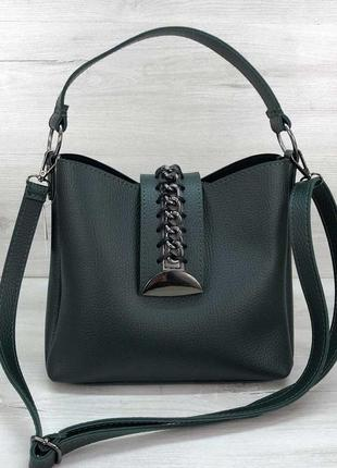Женская модная сумка сати зеленого цвета эко-кожа