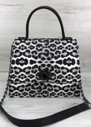 Женская сумка lana черно-белая животный принт леопард эко-кожа