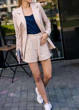 Стильный льняной комплект костюм пиджак с шортами