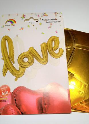 Воздушный шар фольгированное слово Love, золото