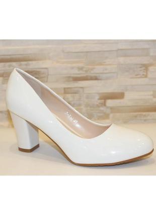 Женские белые свадебные туфли лодочки на устойчивом каблуке
