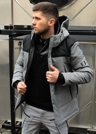 Мужская куртка весенняя allen (серо-черный) ⚡️