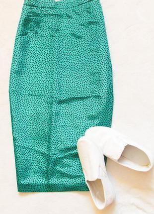 Классная зеленая юбочка карандаш, размер l