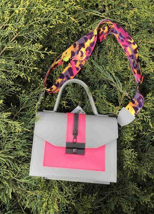 Необычная разноцветная женская сумка серая с малиновым розовым...