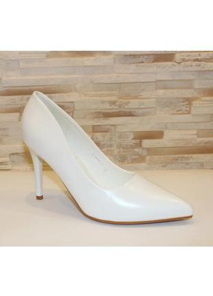 Женские белые свадебные туфли лодочки на каблуке шпильке