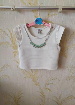 8-9 лет кроп топ блуза рубчик со съемным декором yd
