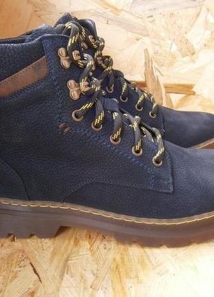 Ботинки спортивные мужские синие зима кожа нубук мида