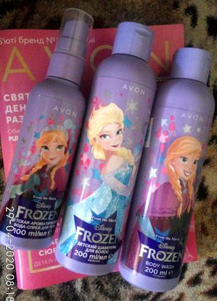 Детский подарочный набор 3шт AVON Disney Frozen шампунь гель духи