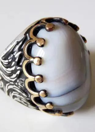 Перстень мужской серебряный с агатом