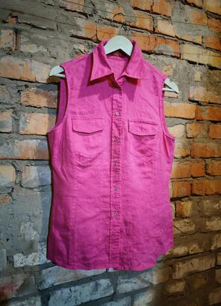 Рубашка льняная безрукавка лен taifun