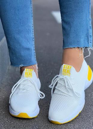 Белые текстильные кроссовки на шнуровке,летние белые текстильн...