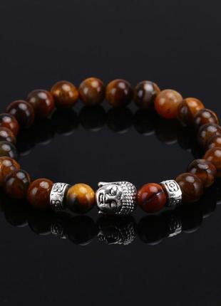 Браслет с буддой из натурального камня (тигровый глаз)