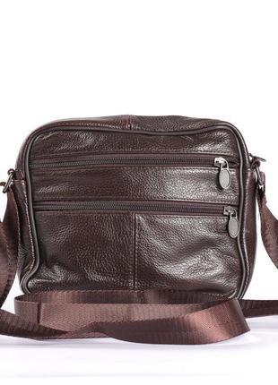 Кожаная мужская сумка, много отделений