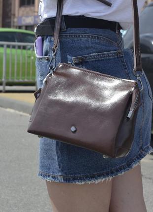 Кожаная сумка мини коричневая