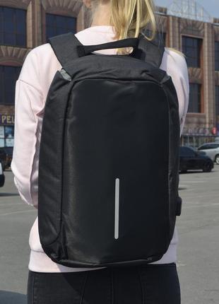 Вместительный черный рюкзак антивор