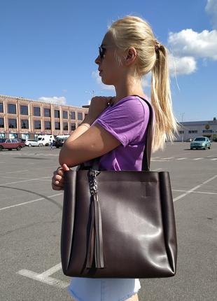 Большая сумка-шоппер, сумка для документов-цвет шоколад