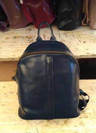 Рюкзак из натуральной кожи  синий